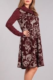 Chris & Carol Wine Floral Dress - Front full body