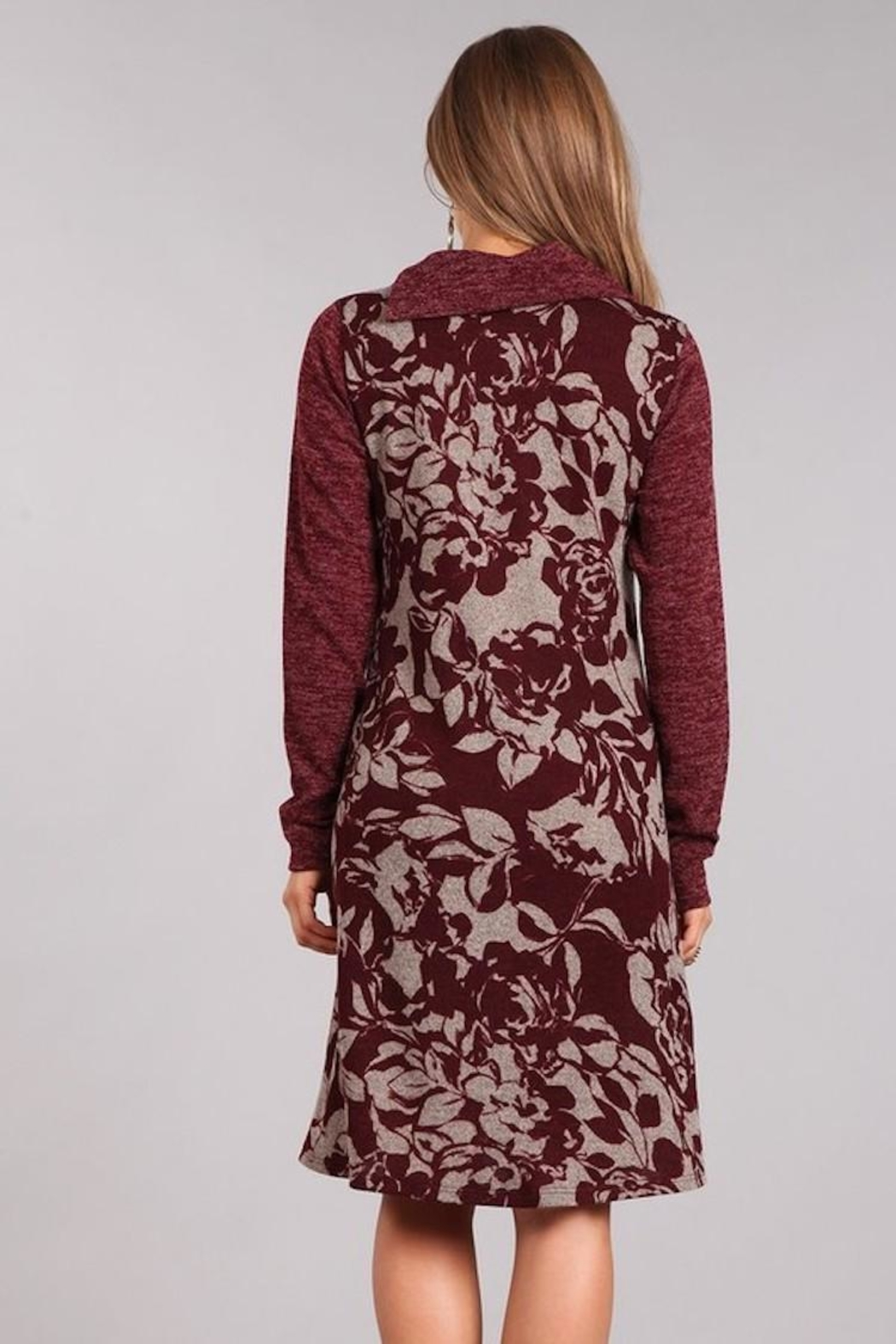 Chris & Carol Wine Floral Dress - Back Cropped Image