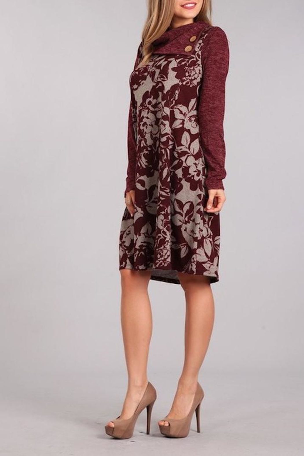 Chris & Carol Wine Floral Dress - Side Cropped Image