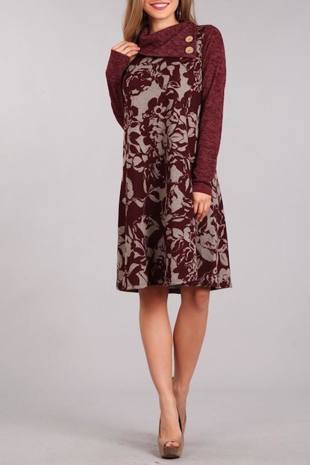 Chris & Carol Wine Floral Dress - Main Image