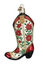 Old World Christmas Christmas Cowgirl Boot - Front full body