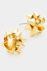 Tell Your Tale Christmas Gift Bow Post Earring - Front cropped