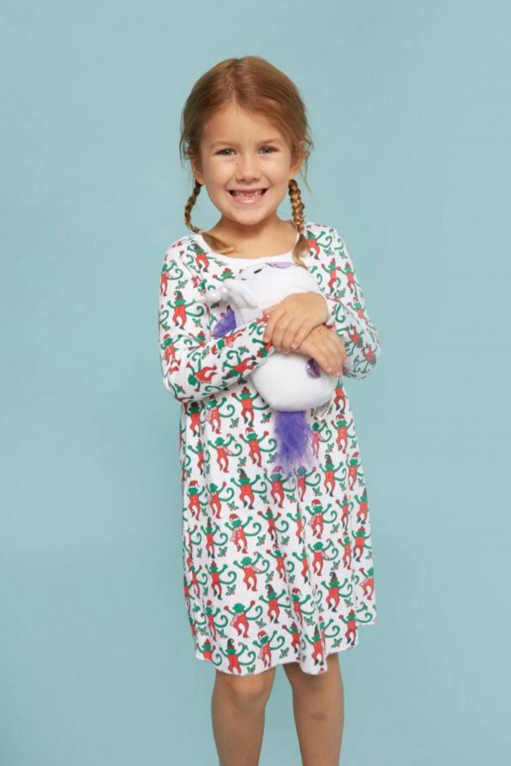 Roberta Roller Rabbit Christmas Monkey Girls-Nightgown - Front Cropped Image