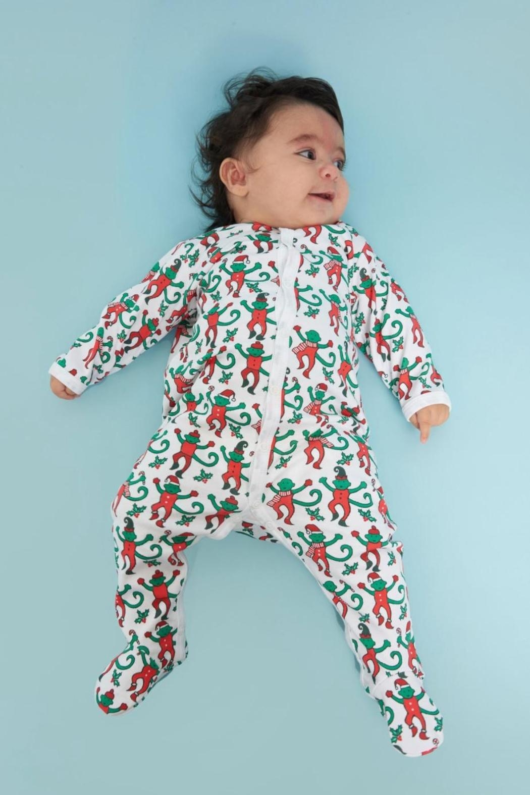 Roberta Roller Rabbit Christmas Monkey Snap-Suit - Front Cropped Image