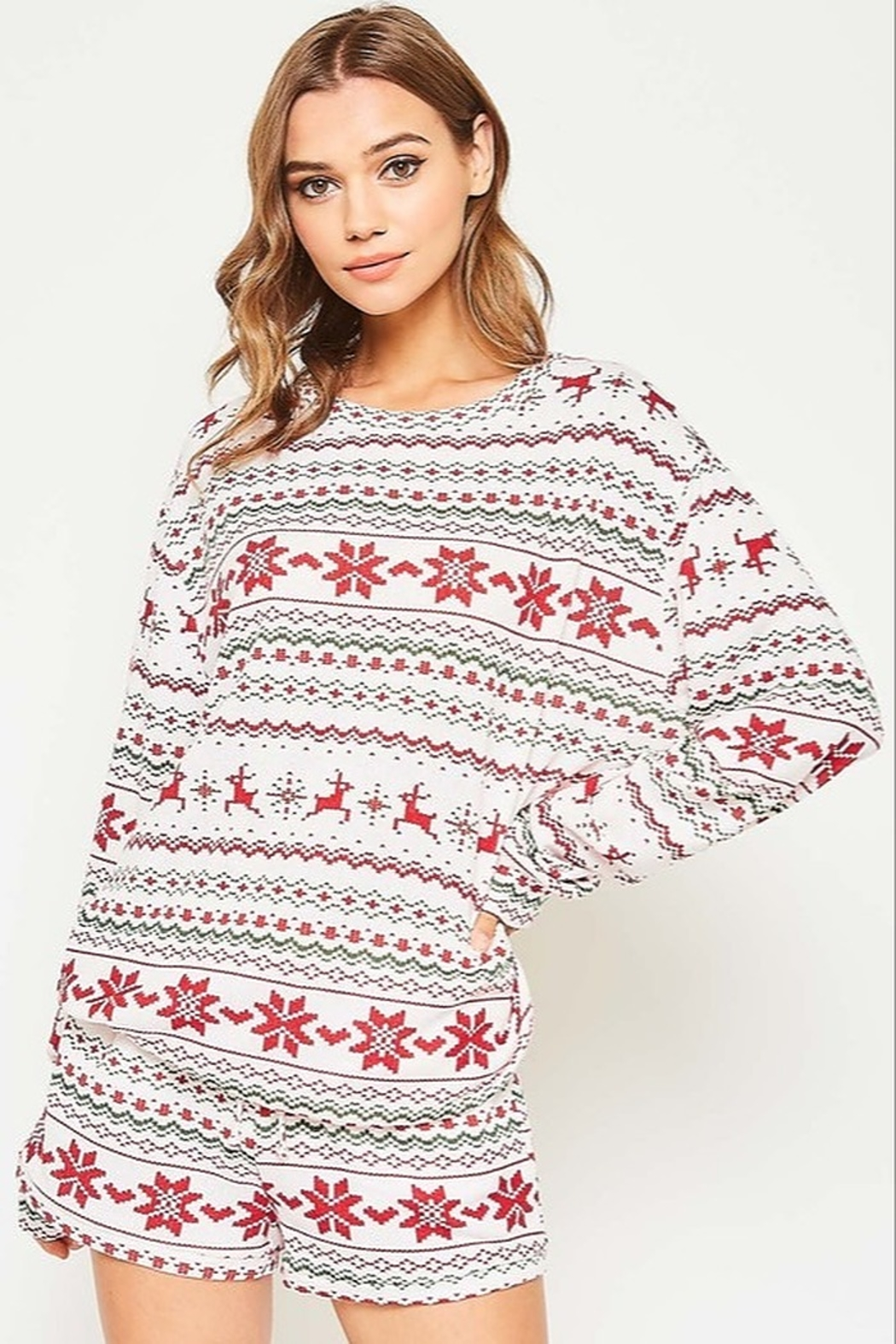 Fantastic Fawn  Christmas PJ Top - Front Cropped Image