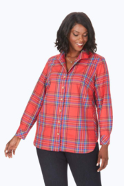 Foxcroft Christmas Red Wrinkle-free blouse Women's sizes - Product Mini Image