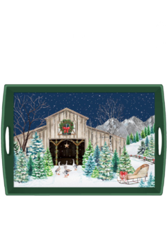 Michel Design Works Christmas Snow Decoupage Tray-Large - Product List Image