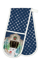 Michel Design Works Christmas Snow Double Oven Glove - Product Mini Image