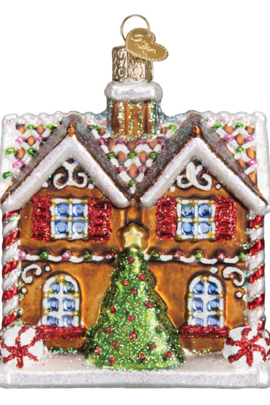 Old World Christmas Christmastime Cottage Ornament - Front Full Image