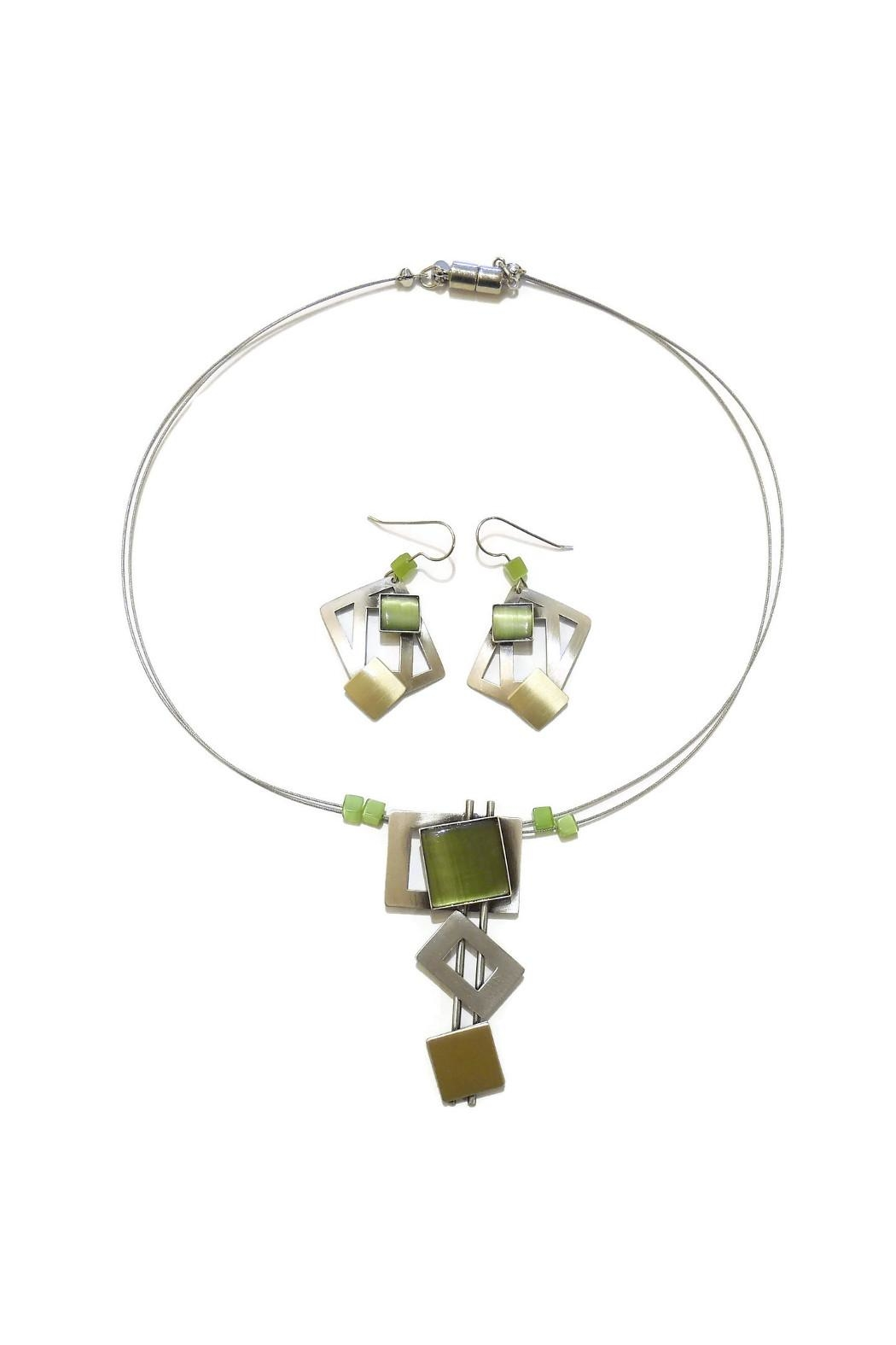 Christophe Poly Olive Squares Earrings - Front Full Image