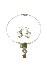 Christophe Poly Olive Squares Earrings - Front full body