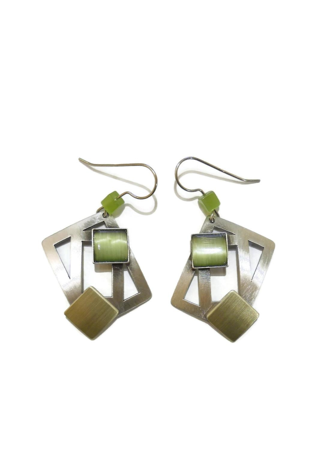 Christophe Poly Olive Squares Earrings - Front Cropped Image