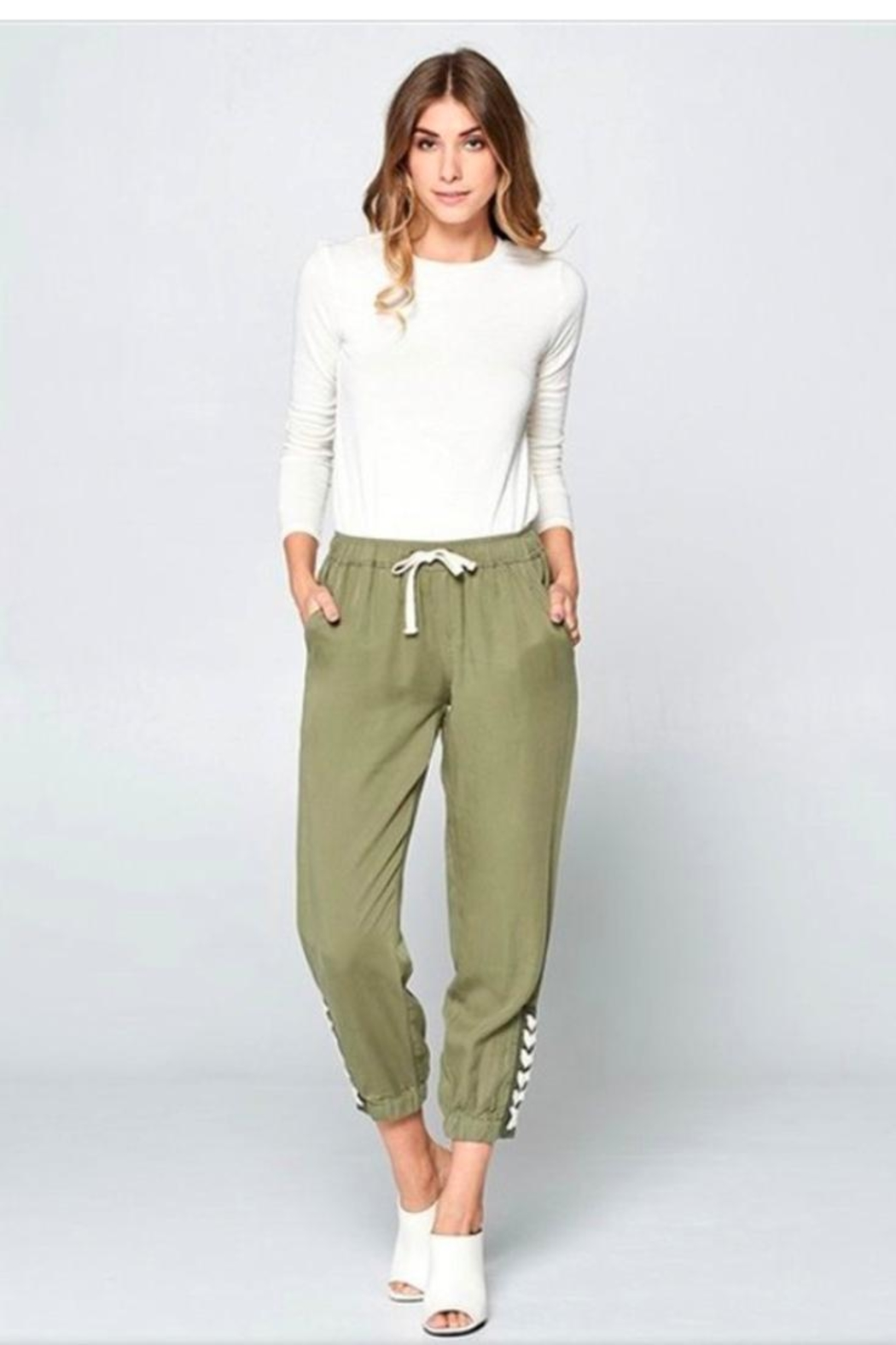 Chrysalis Olive Lace Up Pant - Front Full Image