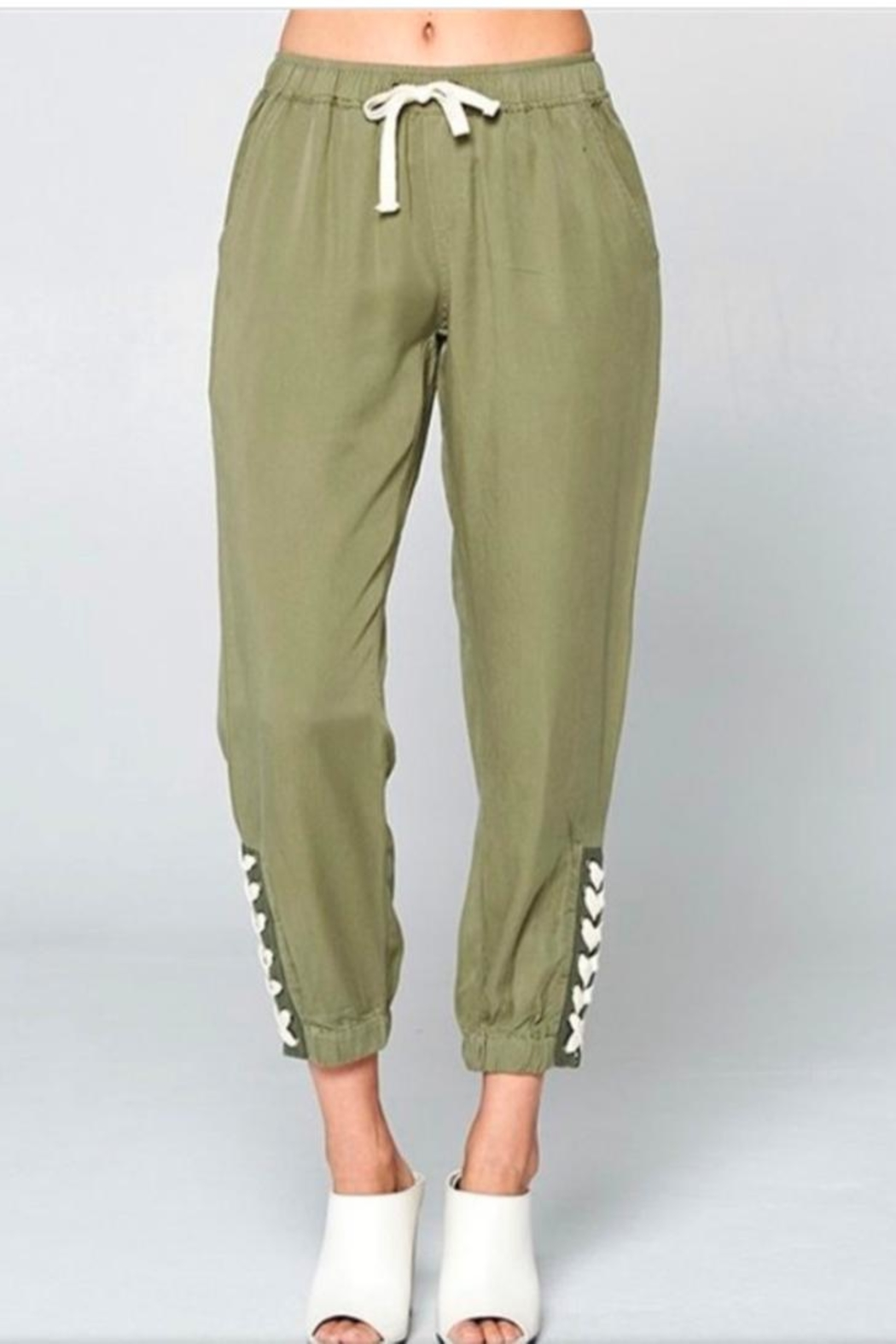 Chrysalis Olive Lace Up Pant - Front Cropped Image