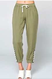 Chrysalis Olive Lace Up Pant - Front cropped