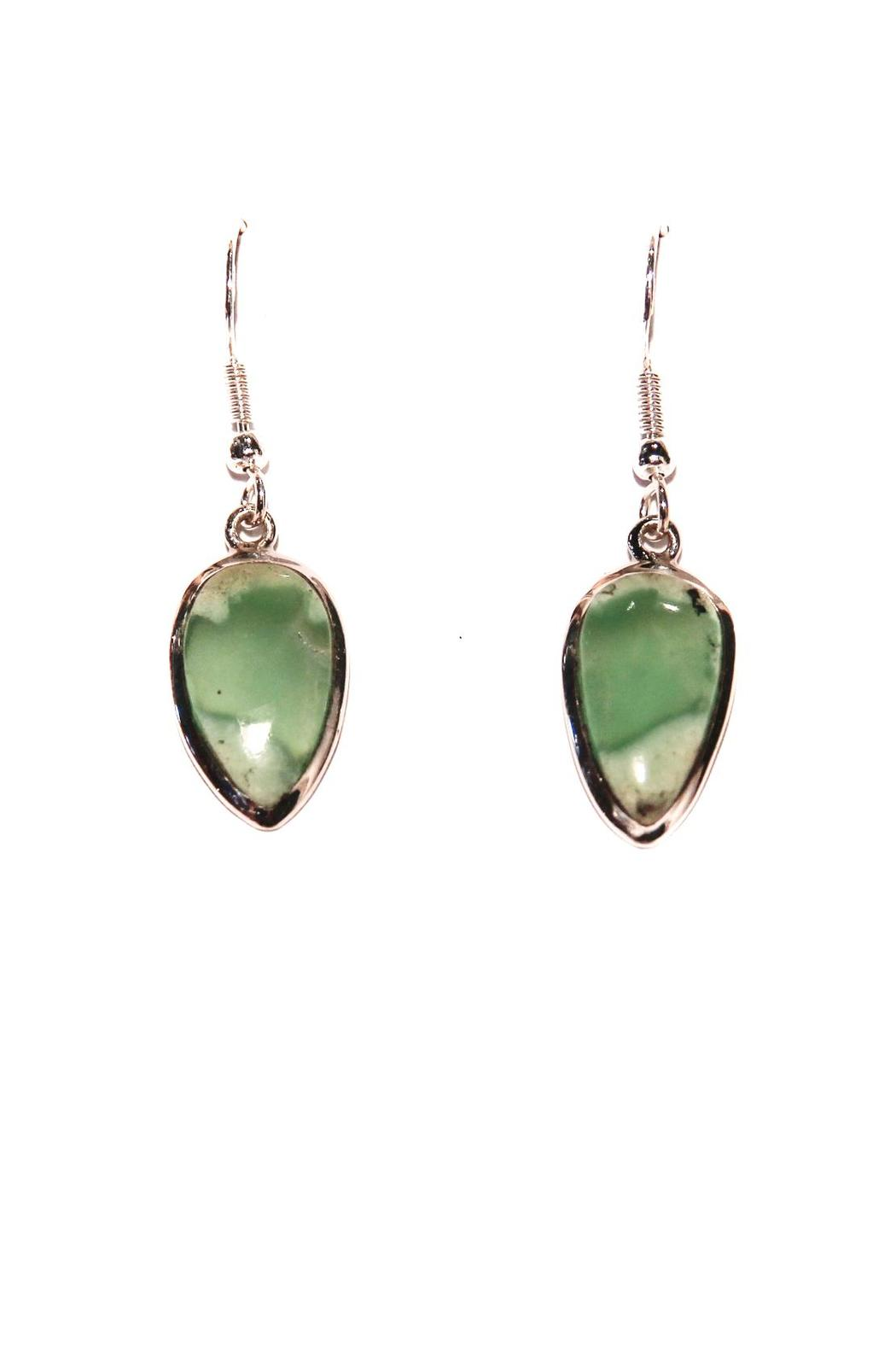 the silver otter chrysoprase earrings from oregon shoptiques