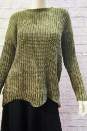 Sweater Land Chunky Chenille Knit Sweater with Scalloped Hem - Product Mini Image