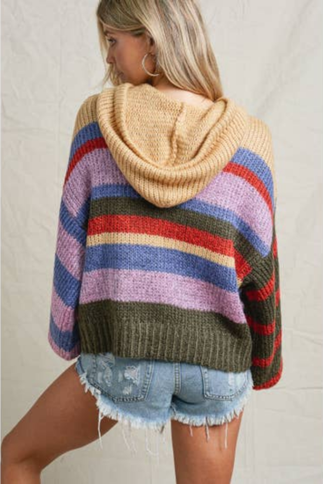 Maronie  Chunky Color Block Sweater - Side Cropped Image