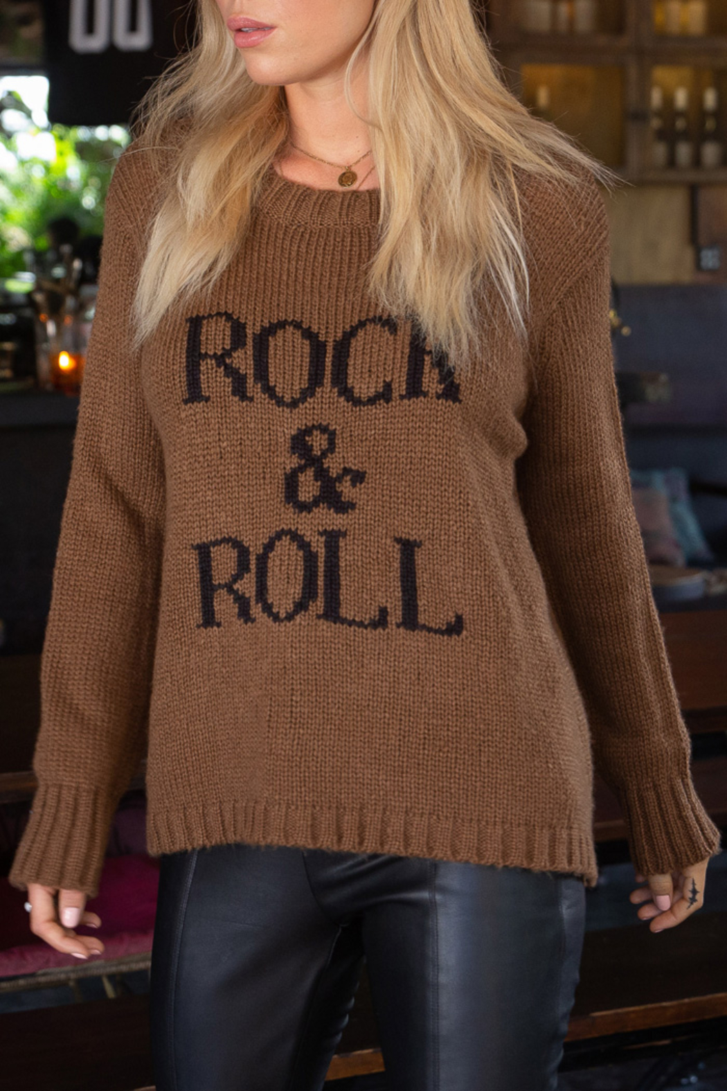 Wooden Ships Chunky Crew Pullover Sweater - Back Cropped Image