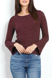 Three Dots Chunky Heather Thermal Top w Bell Slv - Front cropped