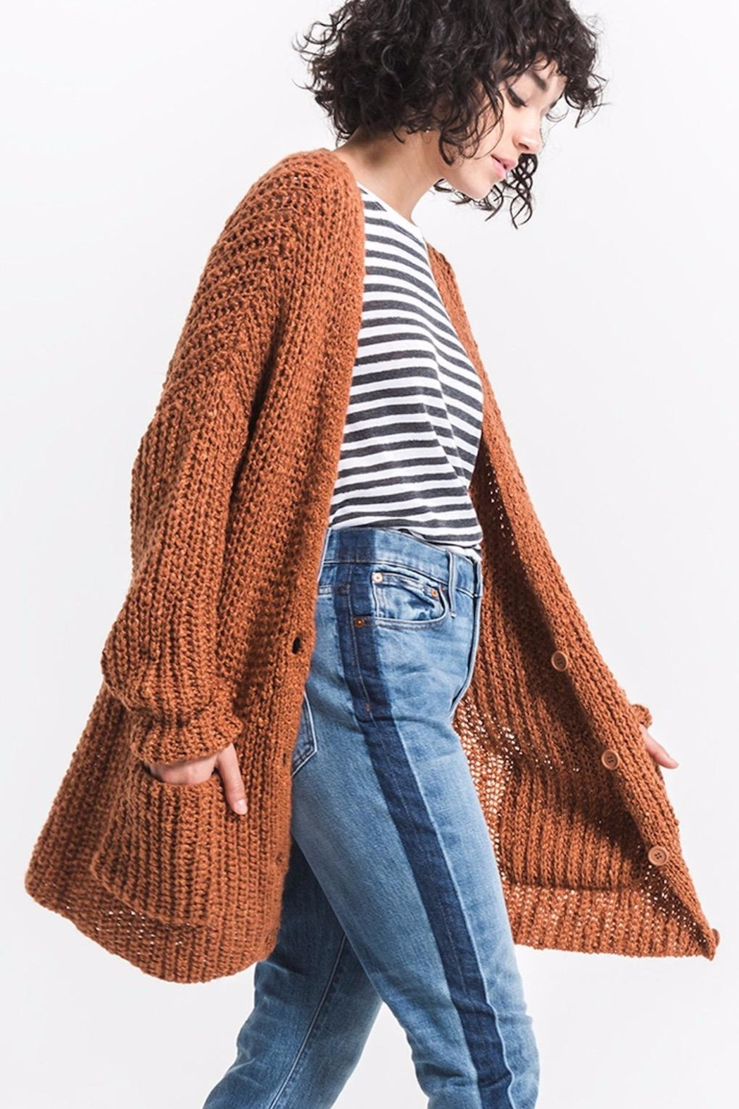 rag poets Chunky Knit Cardigan - Side Cropped Image
