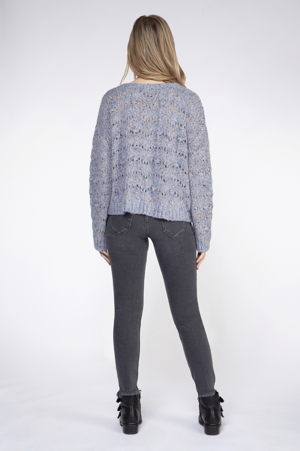 Dex Chunky Knit Confetti Sweater - Side Cropped Image