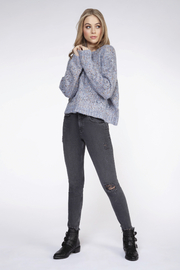 Dex Chunky Knit Confetti Sweater - Back cropped