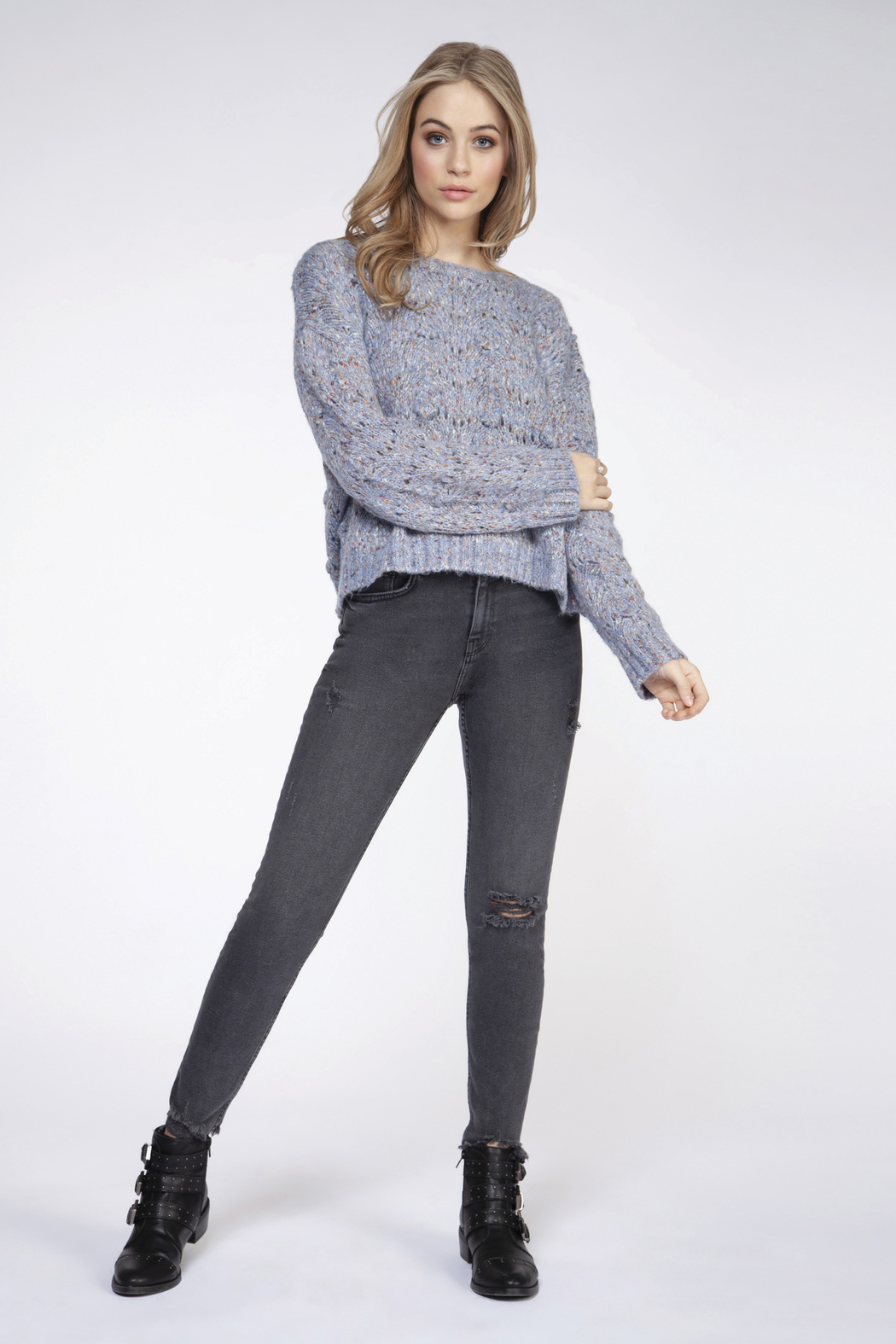 Dex Chunky Knit Confetti Sweater - Front Full Image