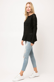 Cozy Casual Chunky Knit Eyelet Black Sweater - Other