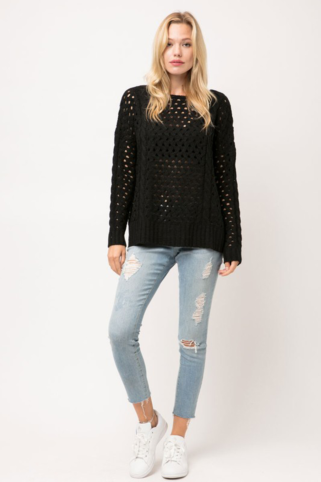 Cozy Casual Chunky Knit Eyelet Black Sweater - Side Cropped Image