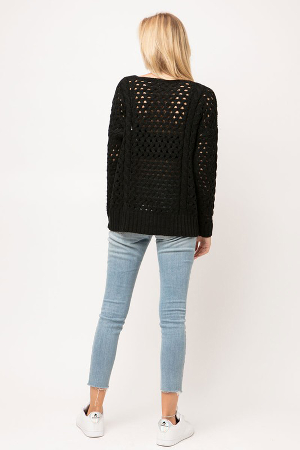 Cozy Casual Chunky Knit Eyelet Black Sweater - Back Cropped Image