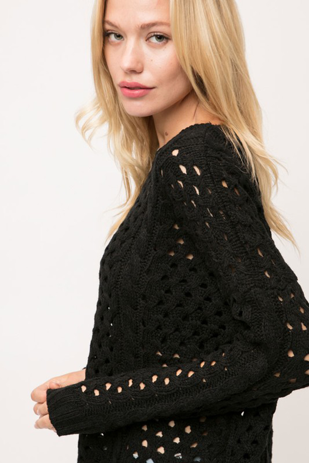 Cozy Casual Chunky Knit Eyelet Black Sweater - Front Full Image