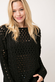 Cozy Casual Chunky Knit Eyelet Black Sweater - Front cropped