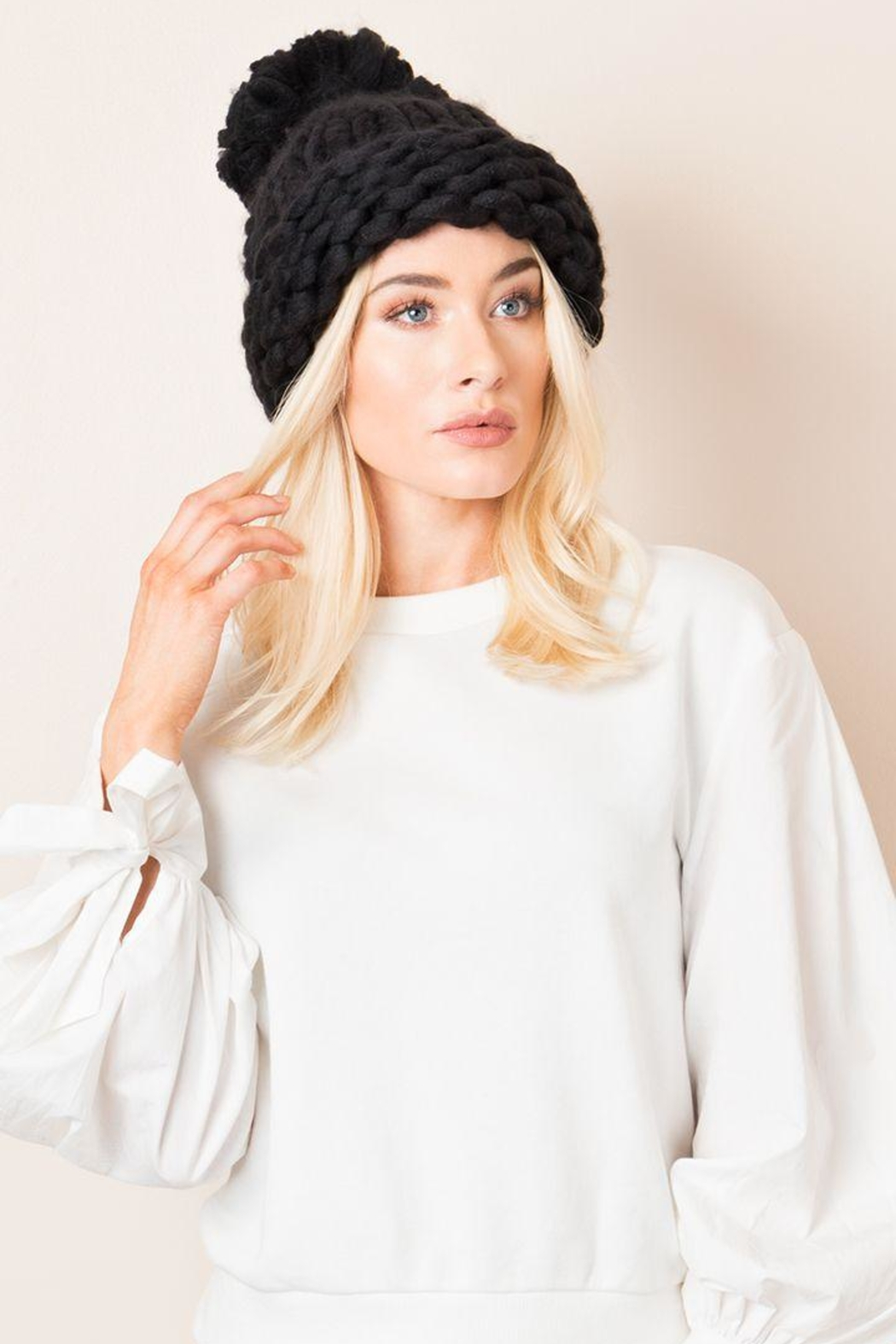Pia Rossini Chunky Knit Hats - Front Cropped Image