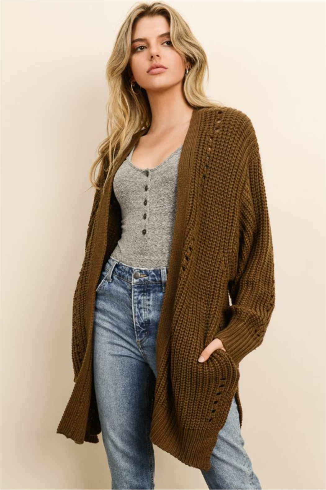 dress forum Chunky Knit Pocket Cardigan - Main Image