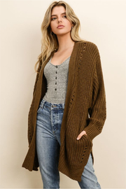 dress forum Chunky Knit Pocket Cardigan - Front cropped