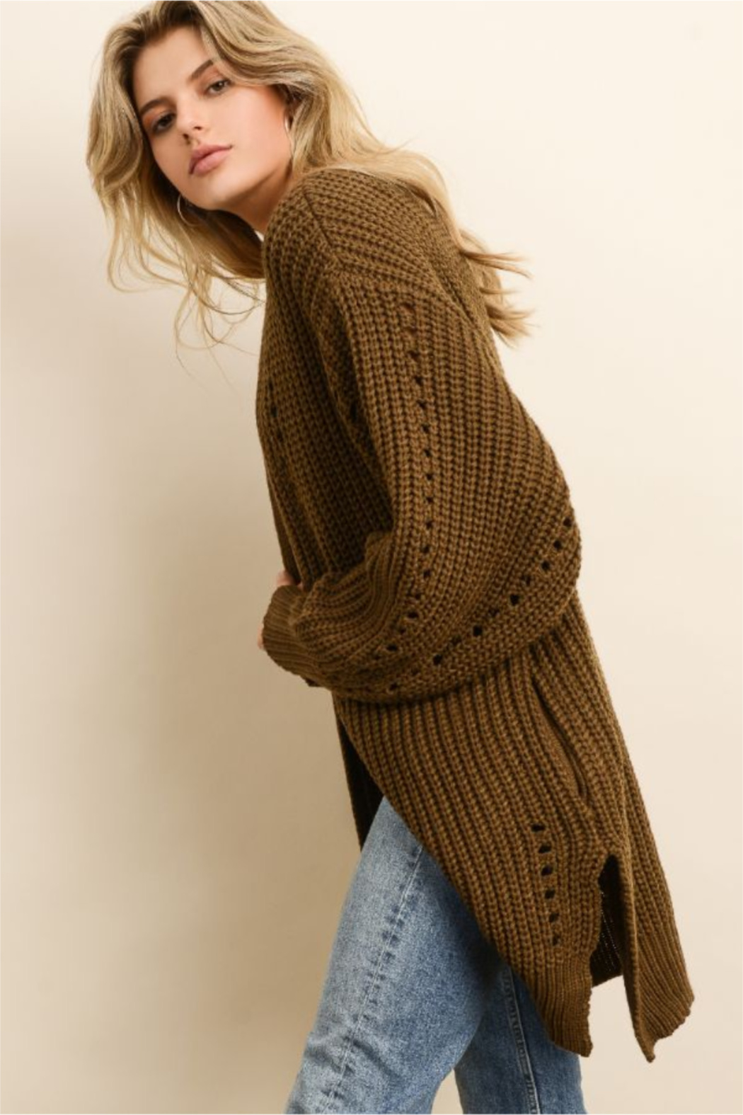 dress forum Chunky Knit Pocket Cardigan - Front Full Image