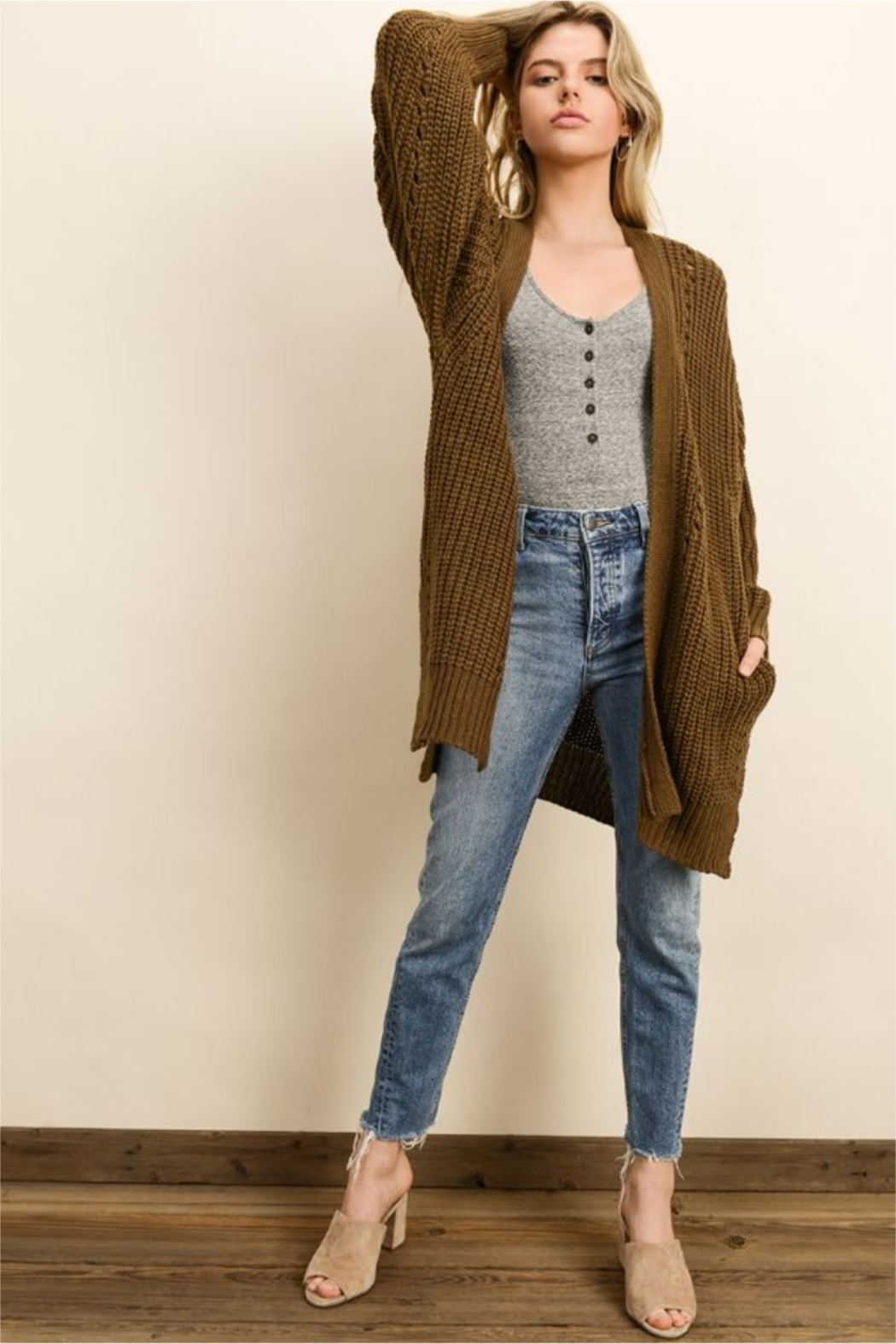 dress forum Chunky Knit Pocket Cardigan - Back Cropped Image