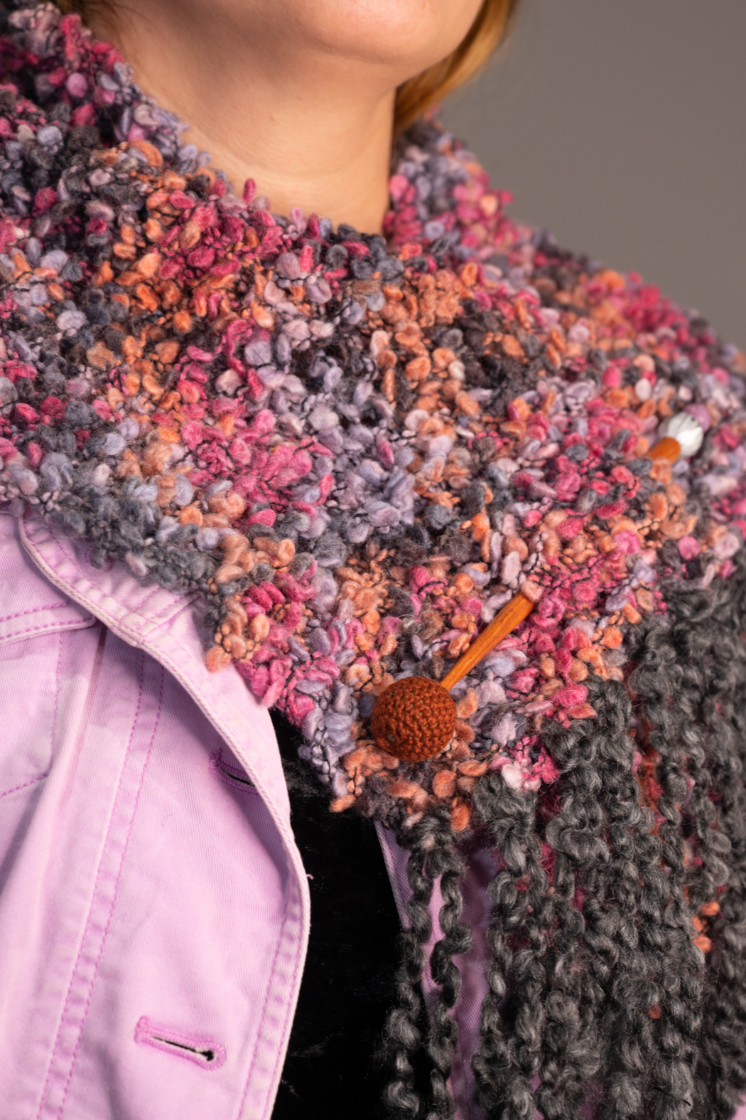 Handmade by CA artist Chunky Knit Scarf/Wrap with Jeweled Pin - Front Full Image