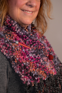 Shoptiques Product: Chunky Knit Scarf/Wrap with Jeweled Pin
