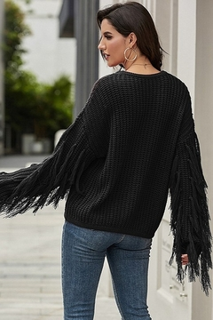 Esley Chunky Knit Tassels Sleeves Sweater Top - Alternate List Image