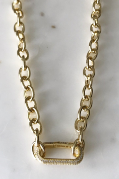 Market and King Chunky pave spring clasp necklace - Product List Image