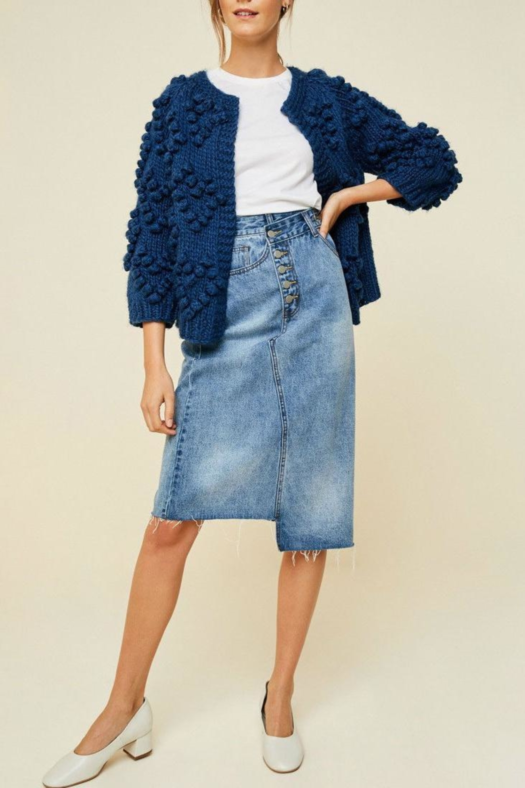 Hayden Los Angeles Chunky Pompom Sweater - Back Cropped Image