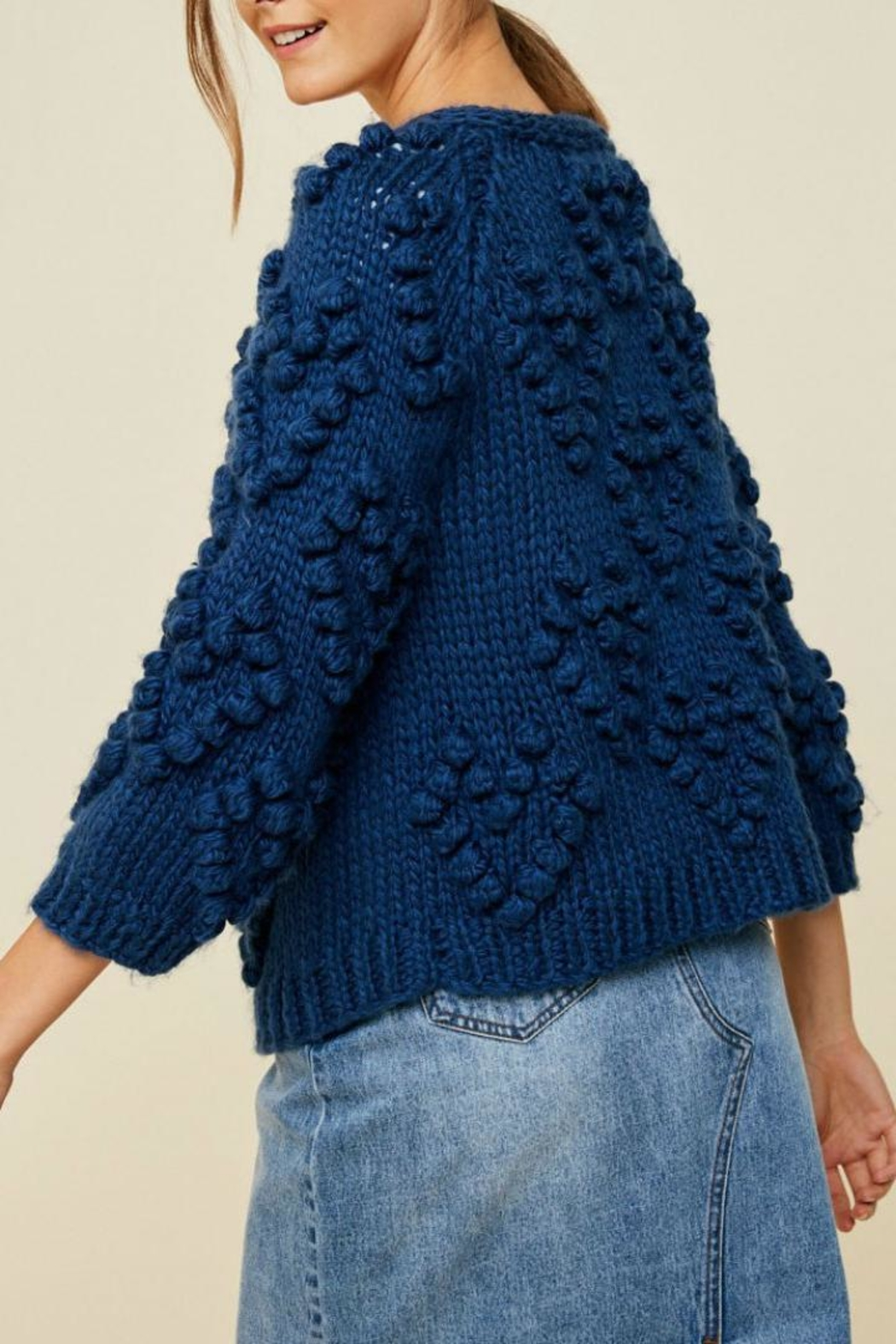 Hayden Los Angeles Chunky Pompom Sweater - Side Cropped Image
