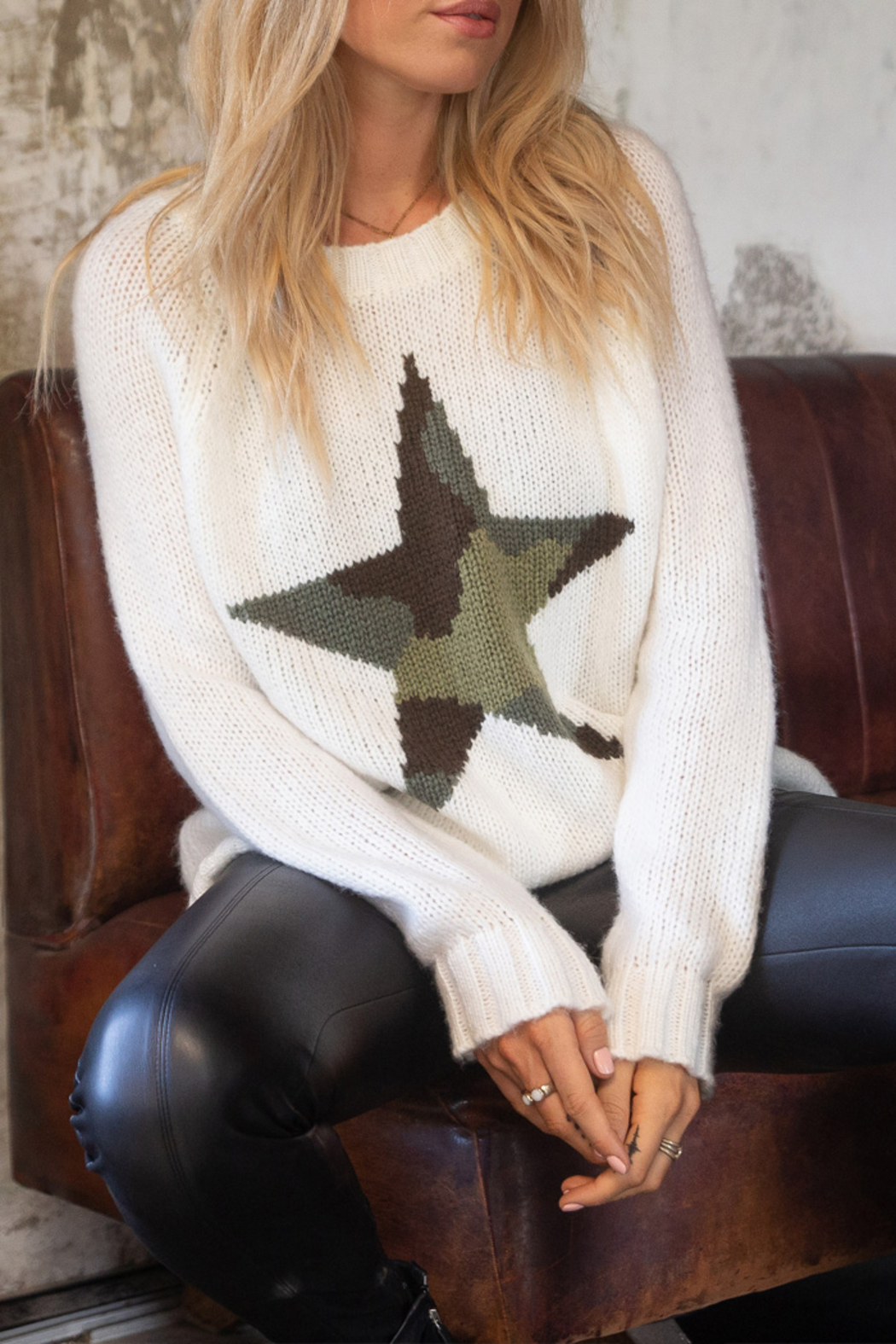 Wooden Ships Chunky Raglan Sleeve Star Sweater - Front Full Image