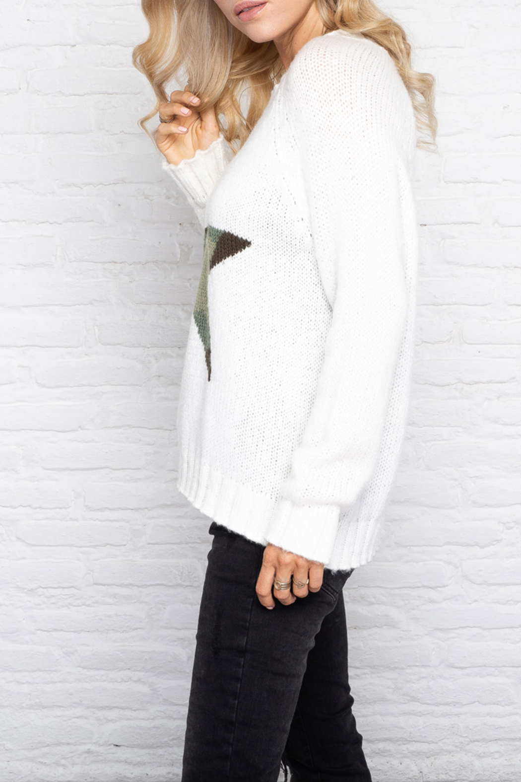 Wooden Ships Chunky Raglan Sleeve Star Sweater - Side Cropped Image