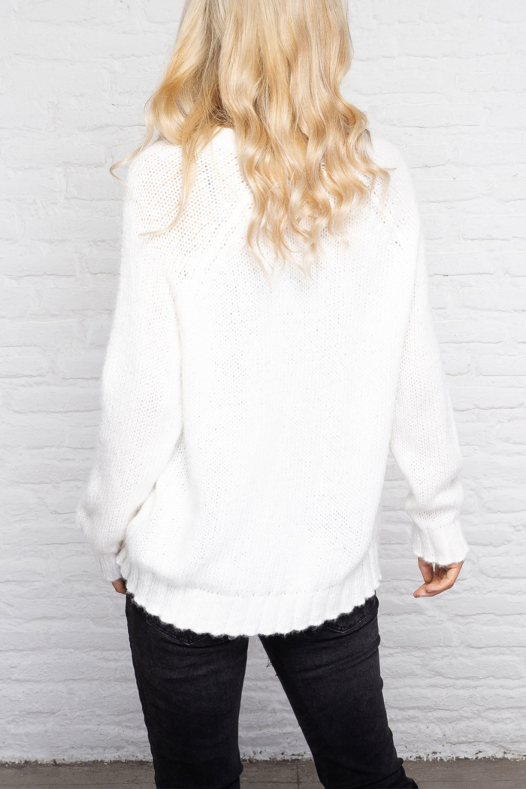 Wooden Ships Chunky Raglan Sleeve Star Sweater - Back Cropped Image