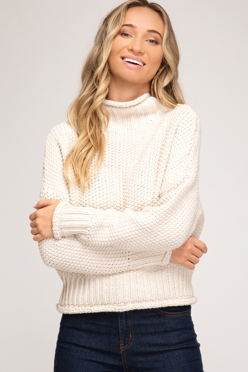 She + Sky Chunky Turtleneck Sweater - Front Cropped Image