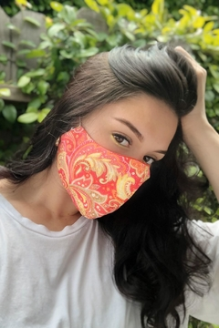 Chynna Dolls Fabric Face Mask: Coral Paisley x Fucsia - Product List Image