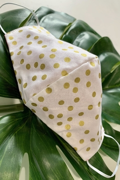 Chynna Dolls Face Mask: Reversible In Gold Dots x Tan - Product List Image